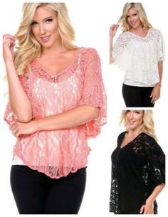 3/4 Sleeve Lace Top looks great with a camisole underneath