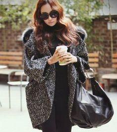 Amazon.co.jp: ポンチョ風 ファーフード付き ツイード コート , ブラック×ホワイト , Mサイズ 041( 国内検品済 ): 服&ファッション小物