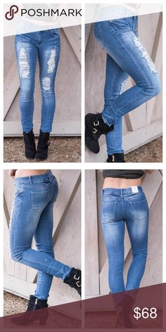 """Destroyed Dark Blue Jeans Most comfortable jeans you'll ever own! True to size. Stretchy light blue wash. 48% cotton, 29% rayon, 21.5% polyester, 1.5 % spandex. About 17"""" hip to hip . 40"""" length. PRICE FIRM Jeans Straight Leg"""
