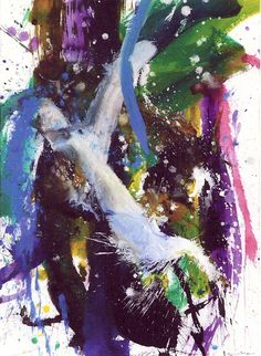 """Kazuo Shiraga - """"Mugenrin"""" - Acry colour on paper, signed, titeled and dated on the reverse, 1996 - Size: 76.5 x 55.7 cm"""