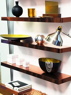 Ikea hack: line floating shelves w/ copper paper