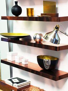 Ikea hack: line floating shelves w/ copper paper