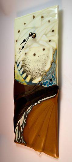 Krenzin -Abstract Textured Fused Glass Clock