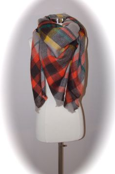 oversized blanket scarf/blanket scarf/tartan by OllasCreations