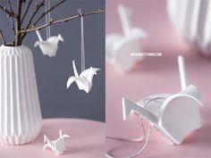 Frühling Deko DIY: Origami Kranich Ton Modelliermasse / geometrische Vase mid century