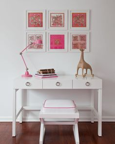Pretty pink accents in this girl's room