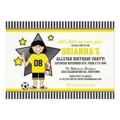 Girl's Soccer Birthday Party Invitations