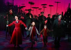 """Ashley Brown as 'Mary Poppins,' Katherine Leigh Doherty as 'Jane Banks,' Alexander Scheitinger as 'Michael Banks,' Gavin Lee as 'Bert,' and the original Broadway company of """"Mary Poppins"""".   Credit Joan Marcus"""