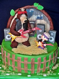 - Masha And The Bear, Bear Theme, Happy Birthday, Birthday Cake, Bear Cakes, Biscuit, Fondant, Baby Boy, Children