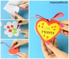 DIY Heart Notebook – Mother's Day Card or Valentines Day Kid Made Gift Idea – Easy Peasy and Fun - Zero Waste Ideen Heart Shapes Template, Spring Projects, Easy Paper Crafts, Father's Day Diy, Unique Cards, Mothers Day Crafts, Crafts For Kids To Make, Love Craft, Craft Gifts