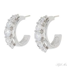 Half-hoop earrings studded with AAA quality cubic zirconia, come in gold or silver, from Fifth Avenue Collection.