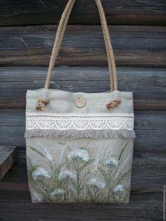 Купить Льняная сумка с росписью..Тысячелистник...Бохо...Экостиль.. - роспись по ткани сумка