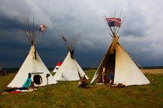 Indiens, Tentes, Été, Camping