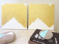 Extra Large Ikat Gold Chevron Painting