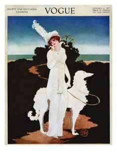 Vogue Cover - January 1913 Poster Print by Mrs. Newell Tilton at the Condé Nast Collection Capas Vintage Da Vogue, Vogue Vintage, Vintage Vogue Covers, Art Deco Posters, Vintage Posters, Vintage Art, Poster Prints, Art Prints, Illustrations Vintage