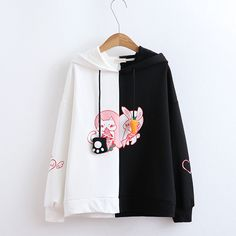 Get this Oversized Kawaii Pink White Rabbit Carrot Hoodie. This cute long sleeve hoodie jacket for women is perfect for cold or rainy seasons. Harajuku Fashion, Kawaii Fashion, Cute Fashion, Girl Fashion, Fashion Outfits, Casual Fall Outfits, Cool Outfits, Mode Kawaii, Iranian Women Fashion