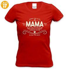 Damen Geschenk zum Muttertag oder Geburtstag Girlie Fun T-Shirt in Größen bis XXL und Print Aufdruck Danke Mama Farbe: rot Gr: M (*Partner-Link)