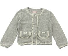 Miss Blumarine Girls Grey Cardigan With White Lace Trims