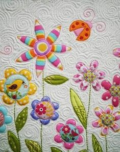 Awfully cute applique and beautiful spiral quilting