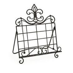 "14.5"" Black Wrought Iron Counterflory Fleur De Lis Recipe Book Holder"