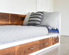 Check out our storage bed selection for the very best in unique or custom, handmade pieces from our shops. Reclaimed Barn Wood, Old Wood, Rustic Wood, Wood Daybed, Wood Beds, Building Process, Cool Woodworking Projects, Woodworking Plans, Woodworking Machinery