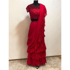 Stylist partywear ruffle saree with net embroidered blouse