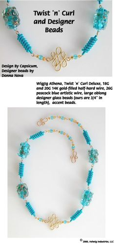Twist 'n' Curl Designer Wire Beads Necklace Jewelry Making Project made with WigJig jewelry tools and jewelry supplies.