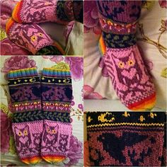 Owl socks / pöllösukat Owl Socks, Knit Socks, Knitting Socks, Awesome Socks, Knit Stockings, Owls, Projects To Try, Slippers, Tapestry
