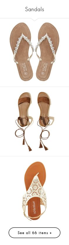 """""""Sandals"""" by mimzyel on Polyvore featuring shoes, sandals, flip flops, flats, gold, gold flats, flat shoes, gold sandals, diamante sandals and flats sandals"""