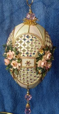 Rosalie's Roses,  hand carved goose egg; floral punch art, ornaments, eggart