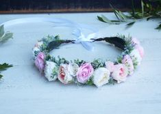 Blush pink, Cream and artificial greenery flower crown Blush Flowers, Cream Flowers, Bridal Flowers, Faux Flowers, Purple Flowers, Floral Hair, Floral Crown, Floral Headpiece, Blush Pink