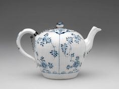 RISD Museum: Meissen Porcelain Manufactory, German, 1710-present. Teapot, 1774-1814. Porcelain with underglaze blue, glaze and silver. Height: 11.4 cm (4 1/2 inches). Gift of Mrs. Arnold B. Chace, Jr. 44.750