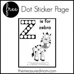 Letter Z Preschool Activity:  Z is for Zebra (dot sticker page)