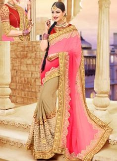 Pink Cream Embroidery Work Georgette Net Designer Fancy Half Party Wear Sarees http://www.angelnx.com/Sarees/Designer-Sarees