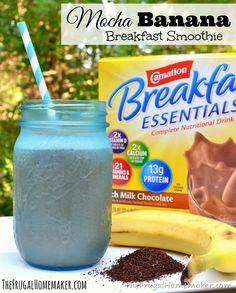 Mocha Banana Breakfast Smoothie  #PMedia #BreakfastEssentials #ad