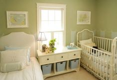 Big brother shares a room with baby by pairing a twin bed with a crib.