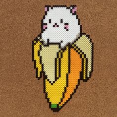 Bananya perler beads by tsubasa. Perler Bead Designs, Perler Bead Templates, Hama Beads Design, Diy Perler Beads, Perler Bead Art, Pearler Beads, Hama Beads Kawaii, Melty Bead Patterns, Pearler Bead Patterns