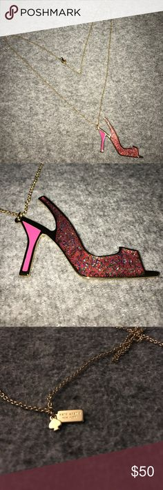 Kate Spade ♠️ Necklace A brand new without the tags Kate Spade necklace it's gold tone with a stiletto heel for the main piece the necklace from top to bottom measures 20inches the stiletto itself is 3 inches long and is colored hot pink with sparkles as well...the top of the necklace has a small Spade hanging tag as well as a hanging tag with the brand name on one side and a small faux diamond on the other the necklace is in excellent condition from a smoke and pet free house kate spade…