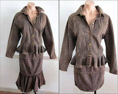 ALBERTA FERRETTI Jeans Vintage Skirt Suit / fits S-M / Peplum