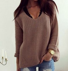 Hollow loose V-neck sweater  L92016