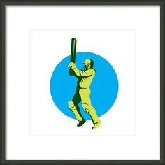 Cricket Player Batsman Batting Circle Retro Framed Print By Aloysius Patrimonio