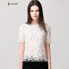 Últimas verano ocasional flojo blanco moda crochet encaje blusa para mujeres de mediana edad