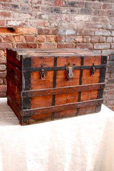 Antique Wood Steamer Trunk.  Pirates Trunk Very Rustic