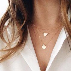 Sequins Triangles Tassel Multilayer Necklace