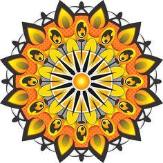 Mandala, Padrão, Forma, Amarela