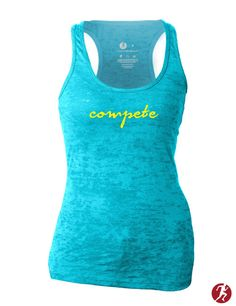Compete script burnout tanktop, perfect addition for the summer workout or time at the pool