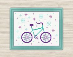 Snow bicycle Cross Stitch Pattern PDF holiday by TimeForStitch