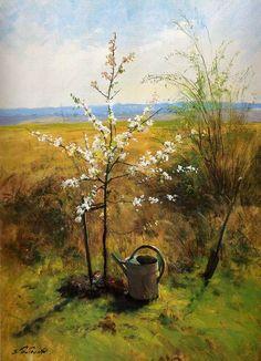 """Serguei Toutounov ~ """"Qu'il Fleurisse"""" - Yvelynes France 2004 ~ (Arbre planté par l'artiste lui-même pour le peindre - Au loin la Ville de Clayes sous bois)"""