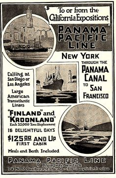 1915 panama pacific line new york through the panama canal to san francisco
