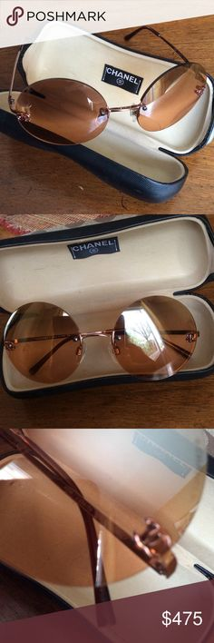 Chanel Vintage Rose Gold Round Sunglasses Rose gold tone metal with round amber lenses.  These are between 15 to 20 years old, not sure exactly when I got. The glasses are in excellent condition and almost perfect condition.  I never really wore these. The case shows its age a bit but is in excellent shape too. The serial number is at the end of the brown arm in third pic, it was difficult to photo. CHANEL Accessories Glasses